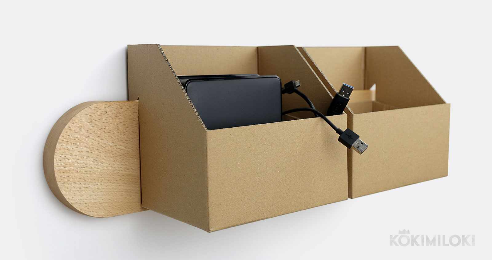 wall-mounted cardboard catch-all box