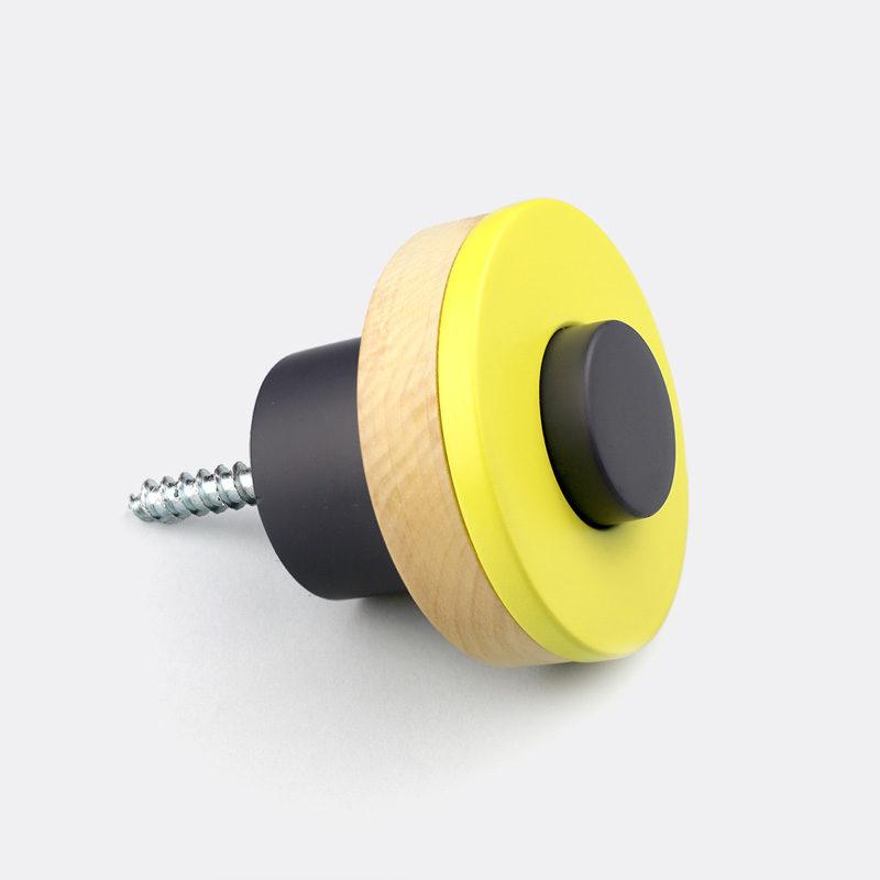 kids wall hooks - yellow wall knob
