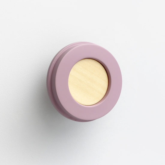 lilac wall knob for hanging your bags, pyjamas, headphones and other accessories