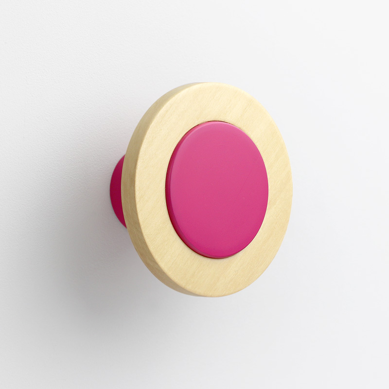 children's wall hangers - pink wall knob attached to the wall