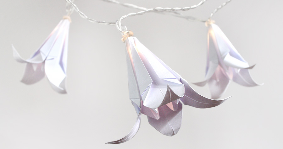 Łańcuch świetlny DIY z tradycyjnymi japońskimi liliami origami