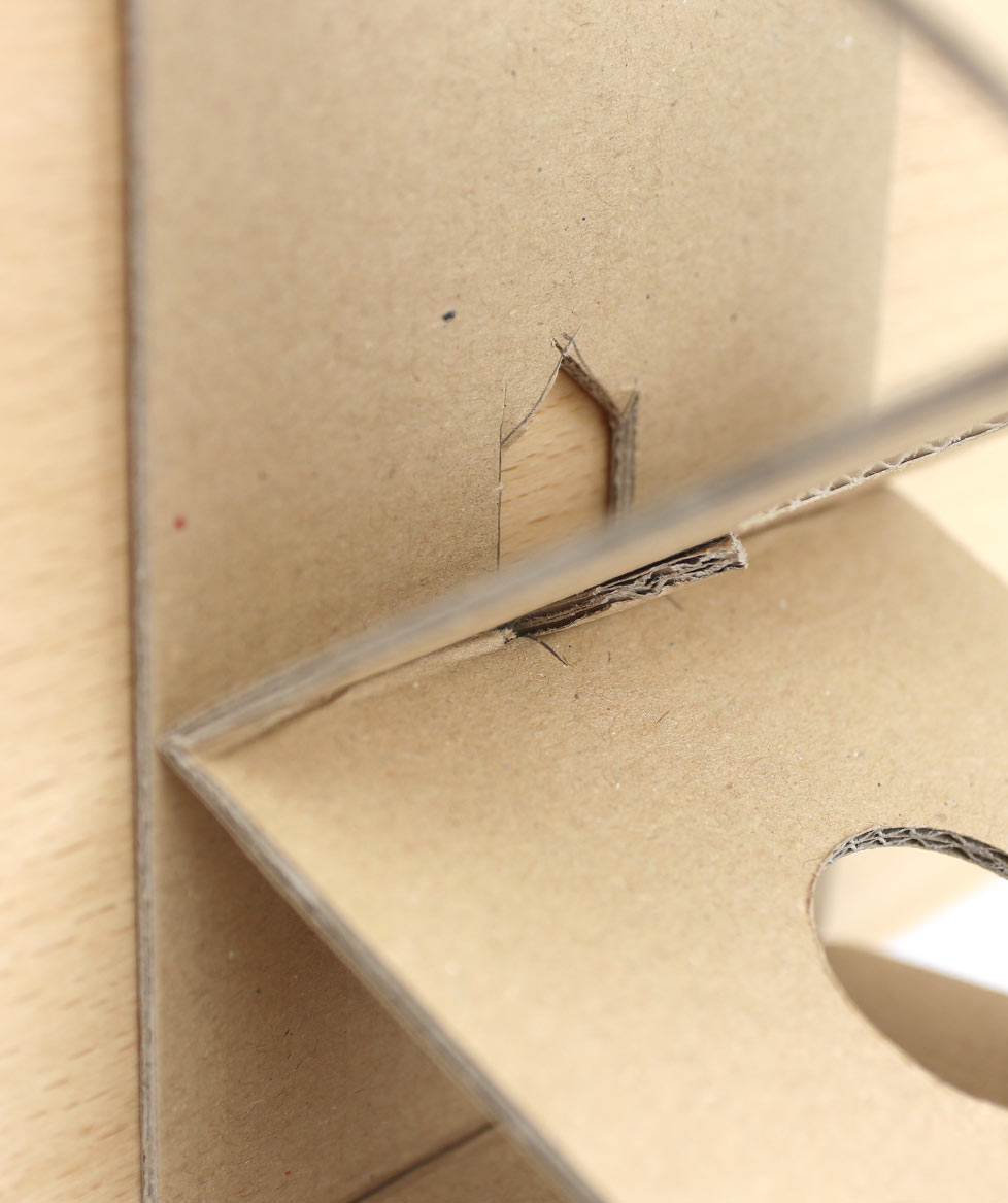 close up of cardboard pen holder