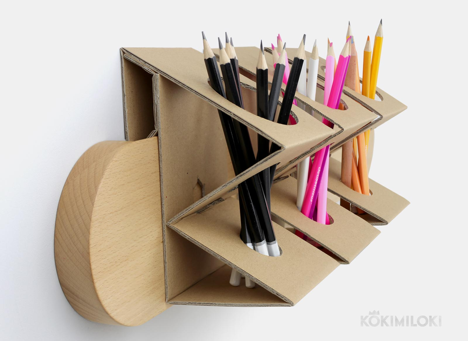 side view of handmade pencil holder