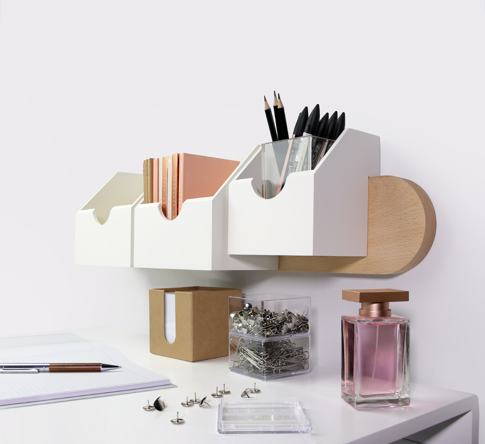 white wall-mounted organiser
